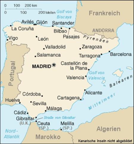 Meerenge Von Gibraltar Karte.Uber Spanien